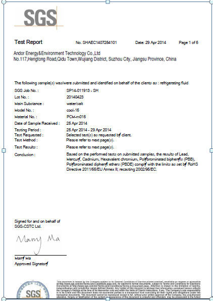 Chine Andores New Energy CO., Ltd Certifications